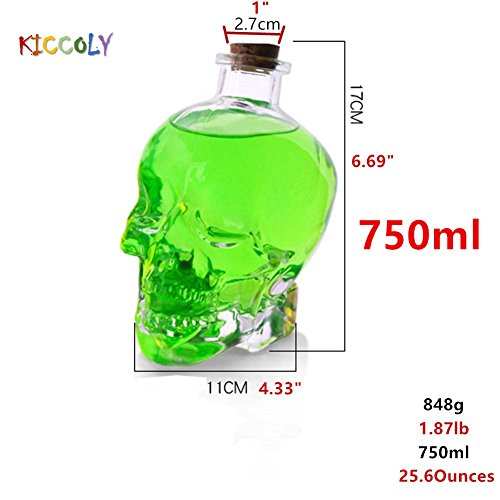 Novelty Drinkware Glassware Skull Head Creative Bottle Glass Wine Bottle Whiskey Bottle Carafe Decanter Drink Bottle Beverage Container Kettle 25.6 Ounces (750 ML)