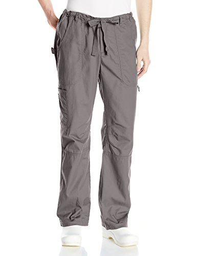 KOI Men's James Elastic Scrub Pants with Zip Fly and Drawstring Waist, Steel, Medium/Short by KOI