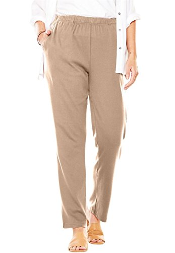 New Womens Ladies Khaki - Women's Plus Size 7-Day Knit Straight Leg Pant New Khaki,1X