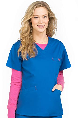 Med Couture Signature Women's V-Neckline 3 Pocket Scrub Top, Royal/Passion Pink, Medium