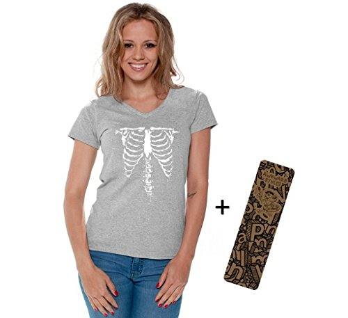 Halloween Shirt Front Ribcage Skeleton Costume Party Scary V-neck + Bookmark 2XL Gray