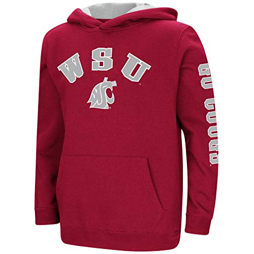 (Colosseum NCAA Youth Boys-Crunch Time-Hoody Pullover-Washington State Cougars-Crimson-Youth Large )