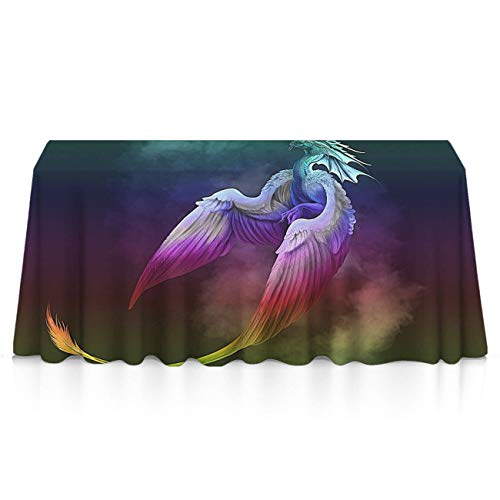 GLORY ART Waterproof Tablecloth,Dragon Phoenix Rainbow,Large Dust-Proof Vinyl Table Cloth Cover, Great for Dinner,Wedding,Patio,Parties,Holiday Dinner,Buffet Table& More(60