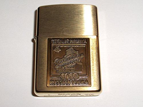 zippo-stolichnaya-stoli-russian-vodak-brushed-brass-medallion-lighter