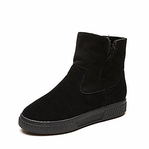 Mid Brun ZHUDJ Bout Noir Neige De Calf Pour Rond Bottes Black Occasionnels Bottes Bottes Femmes D'Hiver Chaussures g6qgrv