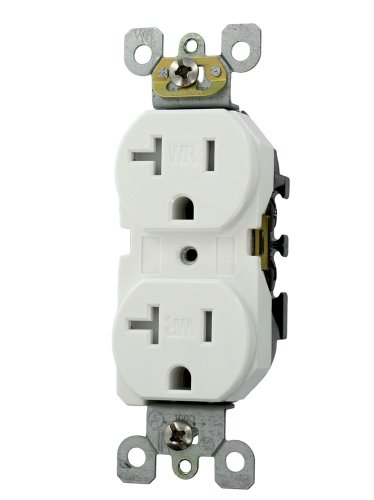 Leviton W5820-T0W Duplex Receptacle. Straight Blade, Residential grade, Self Grounding, Side Wired Only, Steel Strap, 20A Weather Resistant, White Leviton 20a Receptacle