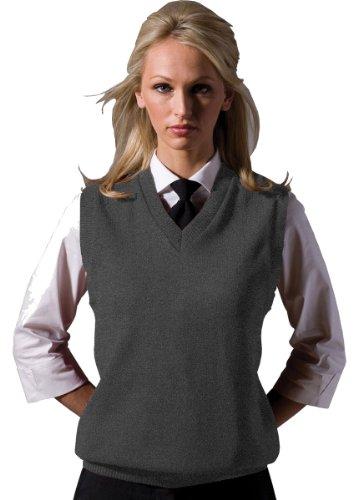 V-neck Performance Sweater Vest (Edwards Garment Women's Performance V Neck Durable Stitch Acrylic Vest, Small - Grey Heather)