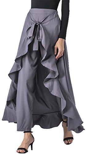 Hanlolo Ladies Chiffon Maxi Pants Skirt Split Ruffle Loose Palazzo Culotte Gray  (Chiffon Palazzo Pants)