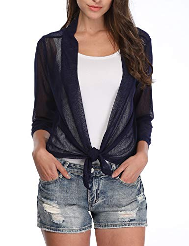 (Kankyky Womens 3/4 Sleeve Tie Front Sheer Shrug Cropped Bolero Cardigan (Navy Blue,M))