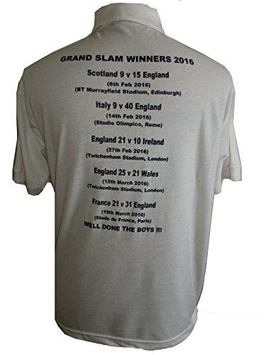 2016 Active Grand nbsp;x Winners Angleterre Wear Au Taille Piqué L S Blanc nbsp;polo 3 Slam Rugby axtFYwa