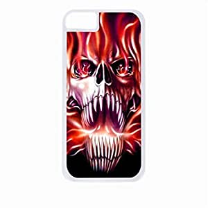 Fireflame Skull- Case for the Apple Iphone 4-4s Universal-Hard White Plastic Outer Shell with Inner Soft Black Rubber Lining wangjiang maoyi by lolosakes