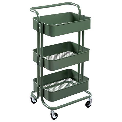 - DOEWORKS Storage Cart 3 Tier Metal Utility Cart Rolling Organizer Cart with Wheels Art Cart, Dark Green