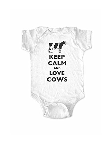 Keep Calm and Love Cows (holstein) baby one piece bodysuit (12 Months, White)