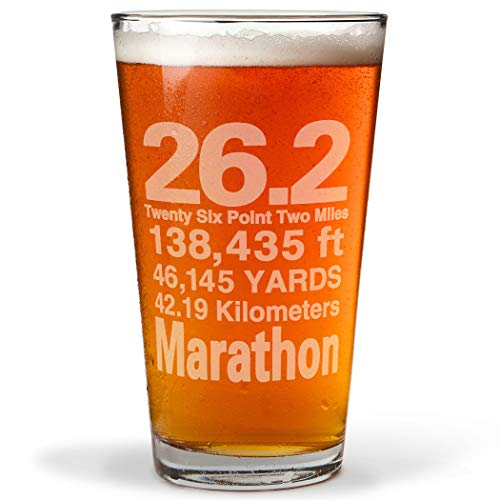 26.2 Math Miles Engraved Beer Pint Glass By Gone For a Run | 16 oz.