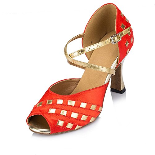 Dance Wedding Strap Studded TDA Tango Latin Red Satin Sandals Women's Party Ballroom Cross WtRR8wqYnv