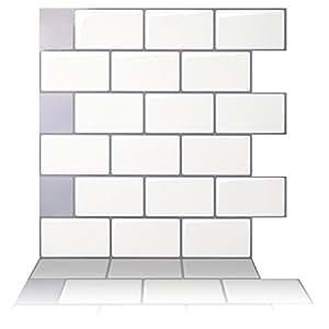 "Tic Tac Tiles - Premium Anti Mold Peel and Stick Wall Tile in Subway Design (10""x10"" 10 sheets, Mono White)"