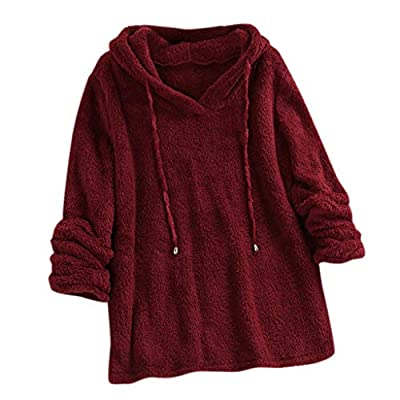 Wulofs Winter Women's Sweatshirt Plush Sweater Hooded Long Sleeves Spring Pullover Loose Fit Tops: Clothing