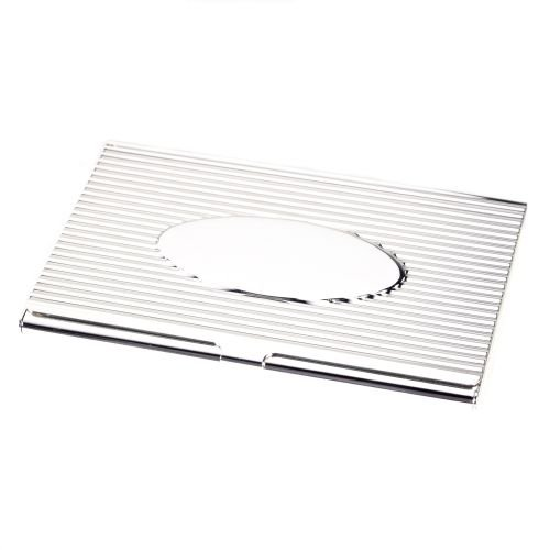 (Silver Plated Business Card Case with Oval Design )