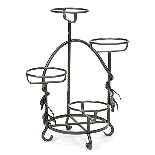 (Achla Designs FC-05 Cascading Wrought Iron Tiered Stand for Displaying Pots, Metal Plant, Graphite)
