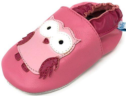 MiniFeet Premium Weich Leder Babyschuhe - Verschiedene Stile - Jungen und Mädchen Babyschuhe - Neugeborene bis 3-4 Jahre Rosa Eule