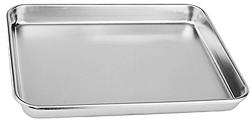 Aeehfeng Stainless Steel Toaster Oven Pan Tray Ovenware, Big Size 12'' x 10'' x 1'', Rust Resistant & Healthy, Mirror Finish & Deep Edge, Easy Clean & Dishwasher Safe by aeehfeng