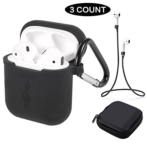 Price comparison product image Tutor AirPods Silicone Case Shock Proof Protecitive Cover and Anti-lost Strap and Headphone Case for Apple AirPods (Black)