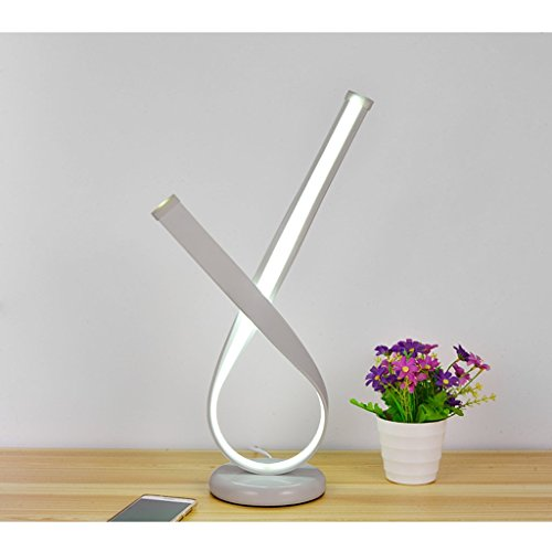 (Nordic Simple and Modern Style Flying Ribbon Creative LED Desk Lamp Bedroom Bedside Lamp Creative Energy-Saving Table Lamp Living Room Office Reading Lamp, LED (Color : White))