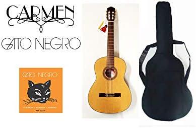Pack guitarra clásica Carmen C-825 de tamaño 4/4, con funda acolchada negra mochila y juego de cuerdas Gato Negro