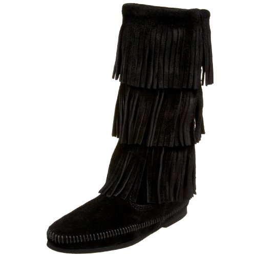 (Minnetonka Women's  3-Layer Fringe Boot,Black,8 M US)
