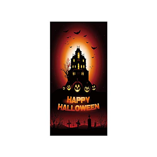 Decorative Privacy Window Film/Happy Halloween Haunted House Flying Bats Scary Looking Pumpkins Cemetery Decorative/No-Glue Self Static Cling for Home Bedroom Bathroom Kitchen Office Decor Black Orang]()