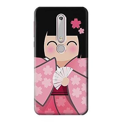 Innovedesire Japan Girl Hina Doll Kimono Sakura Etui Coque Housse pour Nokia 6 (2018)