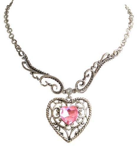 Kristallherz Trachtenschmuck Dirndl Collier - Antik Stil Herz Collier - Light Rose Rosa