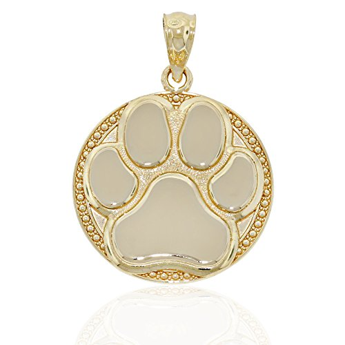 Gold Dog Paw Charm, 14k Solid Gold