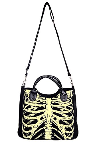 Shoulder BANNED Black SKELETON Handbag Ribcage PVC GLOW Clothing OpYqwOH