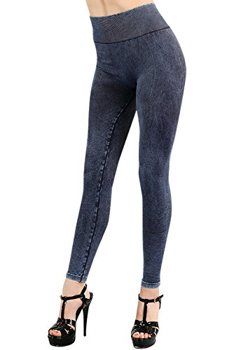 Denim Vintage Leggings (Nikibiki Womens Seamless Vintage Highwaist Leggings One Size Vintage Denim Blue)