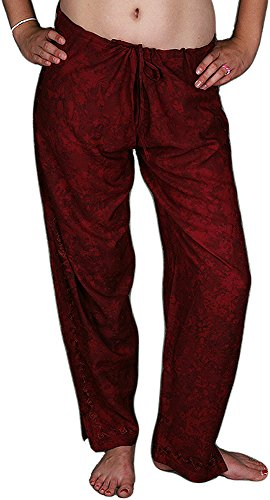 Embroidered Drawstring Pants - Burgundy, Extra Large (Pants Drawstring Embroidered)