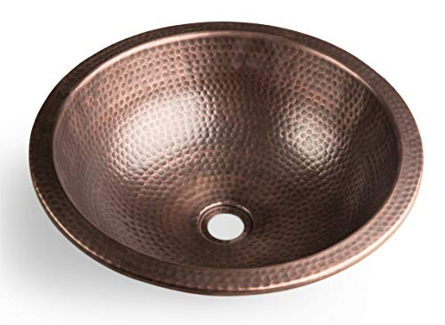 Monarch Abode 17094 Pure Copper Hand Hammered Rotunda Dual Mount Sink (16 inches) (Copper Hammered Sink)
