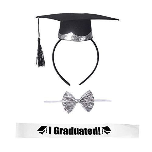 Garma Graduation Party Supplies Kit, Graduation Cap Headband Silver Bow Tie I Graduated Sash for 2019 Graduation Party Decorations Favor Supplies Graduation Costume Accessories -