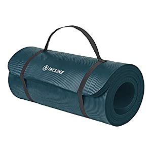 Incline Fit Exercise Mat Ananda 1″ Extra Thick Exercise Mat with Strap – Non Slip Workout Mat for Yoga, Pilates, Stretching, Meditation, Floor & Fitness Exercises