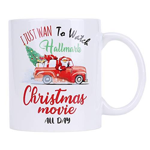 Christmas Coffee Mugs Hallmark Movie Mugs Funny Ceramic Cup I JUST WAN To Watch Christmas Movie ALL DAY, 11oz