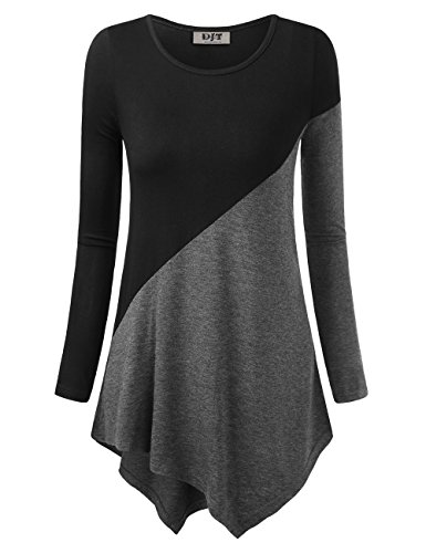 DJT Women's Color Block Blouse Long Sleeve Casual Tee Shirts Tunic Tops Large Black+Dary Grey