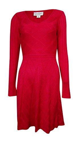 Jessica Simpson Women's V-Neck Sweater Dress Pink Ginger Dress LG (Women's 12-14)