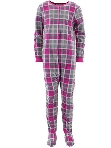 Komar Kids Big Girls' Plush Velour Fleece Footed Blanket Sleeper Pajama, Pink Plaid, Extra Large