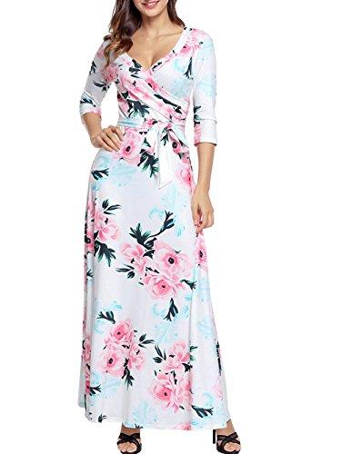 ZAFUL Women Floral Print Long Sleeve Maxi Dress Bodycon Faux Wrap Long Dress With Belt(White, (Floral Print Belt)