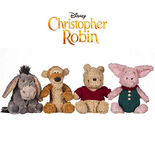 Disney Christopher Robin 18cm Soft Toy Collection Eeyore, Tigger, Pooh and Piglet (4 Pieces) (Winnie The Pooh And Friends Stuffed Animals)