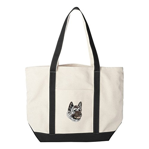 d Embroidered Canvas Tote Bags - Black - Akita ()