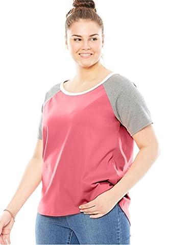 Women's Plus Size Short Raglan Sleeve Tee Tea Rose Multi,1X - Short Raglan Sleeve