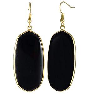 TUMBEELLUWA Crystal Quartz Stone Dangle Hook Earrings Oval Gold Plated, Black Agate Stone