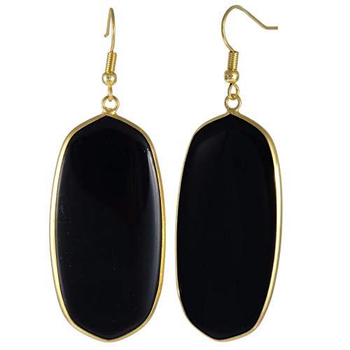 (TUMBEELLUWA Crystal Quartz Stone Dangle Hook Earrings Oval Gold Plated, Black Agate Stone)