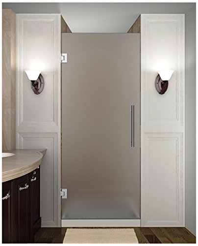 """Aston SDR995F-CH-24-10 Cascadia Completely Frameless Frosted Glass Hinged Shower Door in Chrome Finish, 24"""" x 72"""""""